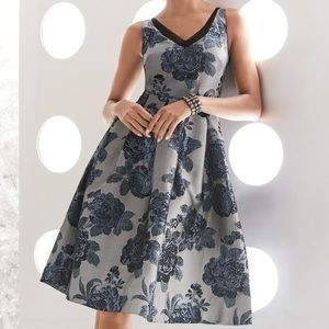 WHBM Jacquard Foral Fit & Flare Blue Dress